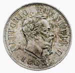 obverse:  Vittorio Emanuele II  (1861-1878) 50 centesimi 1863 M.