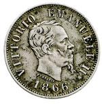 obverse:  Vittorio Emanuele II  (1861-1878) 50 centesimi 1866 M.