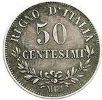 reverse:  Vittorio Emanuele II  (1861-1878) 50 centesimi 1866 M.