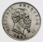 obverse:  Vittorio Emanuele II  (1861-1878) 20 centesimi 1863 M.