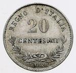 reverse:  Vittorio Emanuele II  (1861-1878) 20 centesimi 1863 M.