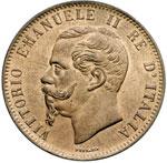 obverse:  Vittorio Emanuele II  (1861-1878) 10 centesimi 1866 H.