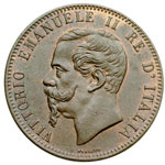 obverse:  Vittorio Emanuele II  (1861-1878) 10 centesimi 1867 OM.