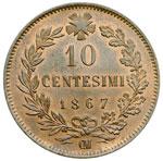 reverse:  Vittorio Emanuele II  (1861-1878) 10 centesimi 1867 OM.