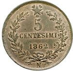 reverse:  Vittorio Emanuele II  (1861-1878) 5 centesimi 1862 N.