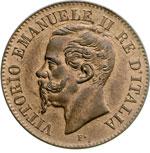 obverse:  Vittorio Emanuele II  (1861-1878) 2 centesimi 1867 M.