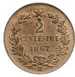 reverse:  Vittorio Emanuele II  (1861-1878) 2 centesimi 1867 M.
