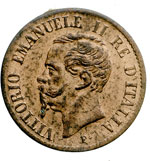 obverse:  Vittorio Emanuele II  (1861-1878) Centesimo 1861 N.