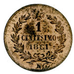 reverse:  Vittorio Emanuele II  (1861-1878) Centesimo 1861 N.