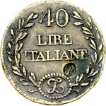 obverse:  Vittorio Emanuele II  (1861-1878) Peso monetale per le 40 lire in oro del 1862