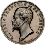 obverse:  Vittorio Emanuele II (1861-1878) Medaglia al merito per l esposizione del 1861 a Firenze.