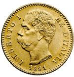 obverse:  Regno di Italia  Umberto I (1878-1900) 20 lire 1891, 1 ribattuto.