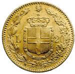 reverse:  Regno di Italia  Umberto I (1878-1900) 20 lire 1891, 1 ribattuto.