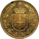 reverse:  Umberto I (1878-1900) 20 lire 1893.