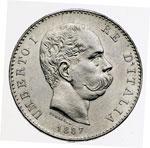 obverse:  Umberto I (1878-1900) Lira 1887 M.