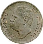 obverse:  Umberto I (1878-1900) 5 centesimi 1896