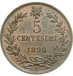 reverse:  Umberto I (1878-1900) 5 centesimi 1896