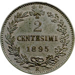 reverse:  Umberto I (1878-1900) 2 centesimi 1895.