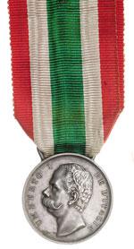 obverse:  Umberto I (1878-1900) Medaglia d argento a ricordo dell Unità d Italia emessa nel 1883.