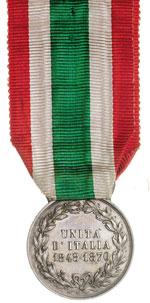reverse:  Umberto I (1878-1900) Medaglia d argento a ricordo dell Unità d Italia emessa nel 1883.