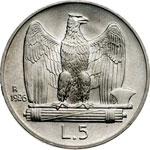 reverse:  Vittorio Emanuele III (1900-1946) 5 lire 1926.