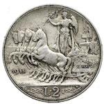 reverse:  Vittorio Emanuele III (1900-1946) 2 lire 1911.