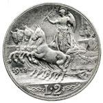 reverse:  Vittorio Emanuele III (1900-1946) 2 lire 1912.