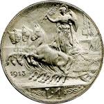 reverse:  Vittorio Emanuele III (1900-1946) Lira 1913.