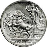 reverse:  Vittorio Emanuele III (1900-1946) Lira 1917.