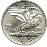 reverse:  Regno di Italia  Vittorio Emanuele III (1900-1946) 50 centesimi 1936 A.XIV