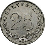 reverse:  Vittorio Emanuele III (1900-1946) 25 centesimi 1903.