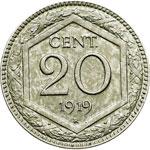 reverse:  Regno di Italia  Vittorio Emanuele III (1900-1946) 20 centesimi 1919 bordo liscio.