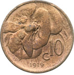 reverse:  Regno di Italia  Vittorio Emanuele III (1900-1946) 10 centesimi 1919 R.