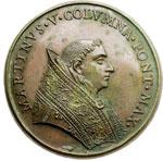 obverse:  Martino V (1417-1431), Oddone Colonna Medaglia 1664, di restituzione per i lavori alla facciata della basilica dei Santi Apostoli.