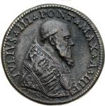 obverse:  Giulio III (1550-1555)  Giovanni Maria de  Ciocchi del Monte. (1550-1555) Medaglia A. IV per la costruzione di Villa Giulia a Roma ad opera del Vignola