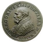 obverse:  Gregorio XIII (1572-1585), Ugo Boncompagni Medaglia commemorativa 1578 per la consacrazione della Cappella Gregoriana nella Basilica di San Pietro.