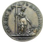 reverse:  Clemente VIII (1592-1605), Ippolito Aldobrandini  Medaglia A. X. per la pace tra Enrico IV di Francia ed il Duca di Savoia.