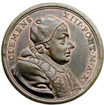 obverse:  Clemente XIII (1758-1769), Carlo Rezzonico Medaglia annuale A. X. per le canonizzazioni di sei nuovi Santi nel 1767.