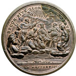 reverse:  Clemente XIII (1758-1769), Carlo Rezzonico Medaglia annuale A. X. per le canonizzazioni di sei nuovi Santi nel 1767.