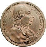 obverse:  Pio VI (1775-1799), Giovanni Angelo Braschi Medaglia annuale, A. XXI. Per l istituzione dell Opera Pia della ospitalità francese.