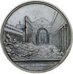 reverse:  Pio IX  (1846-1878), Giovanni Mastai Ferretti Medaglia celebrativa, per la ricostruzione della basilica di S. Paolo.