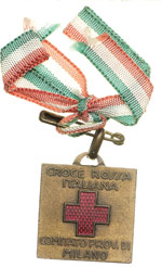 reverse:  Croce Rossa Medaglietta con nastrino tricolore originale della Croce Rossa Italiana Comitato Prov. di Milano.