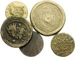 obverse:  Milano   Lotto di 5 pesi monetali principalmente per Milano: Filippo IV per il mezzo ducatone, un Filippo sotto Maria Teresa, sovrano (2) e doblone spagnolo