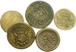 obverse:  Milano e Parma Lotto di 5 pesi monetali tra cui: doppia di Parma, doblone spagnolo 1683 e 1727, sovrana per Milano, Luigi di Francia.