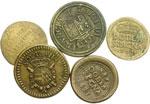 reverse:  Milano e Parma Lotto di 5 pesi monetali tra cui: doppia di Parma, doblone spagnolo 1683 e 1727, sovrana per Milano, Luigi di Francia.