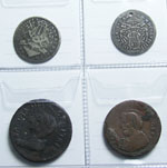 obverse:  Roma  Pio VI (1775 -1799) Lotto di 4 monete composto da: 1/5 di scudo Sede Vacante 1758, giulio Sede Vacante 1769 (forato), madonnina e sampietrino di Pio VI.