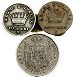 reverse:  Napoleone I Re d Italia (1805-1814) Lotto di 3 monete di Napoleone Bonaparte: 10 soldi 1812 Venezia (RRR), Centesimo 1809 Bologna, Lira 1811 Bologna.