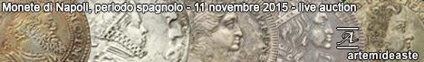 Banner Artemide - Monete di Napoli, periodo spagnolo