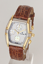 """obverse: LUCIEN ROCHAT chronograph, around 1990. """"Tonneau"""" case in steel and gold with back closed whit 8 screws"""
