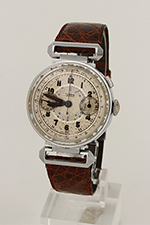 obverse: LUXOR, chronograph, around 1935. Round case in chromed metal with steel back and mobile lugs